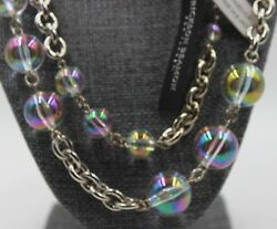 NWT ERICKSON BEAMON for Target Silver amp; Aurora Borealis Ball Bead 40quot; Necklace $38.00