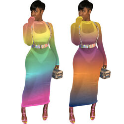 Summer Women long sleeves colorful mesh sheer bodycon club dress beach cover up  $19.69