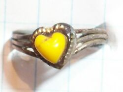 RING BRASS COPPER COLOR YELLOW HEART .63 DIAMETER 3 PARALLEL WIRE TYPE BAND NO  $9.60