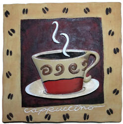 3D Coffee Kitchen Theme Resin Wall Hanging Plaque 5x5 Decor Art Signed by Artist $15.99