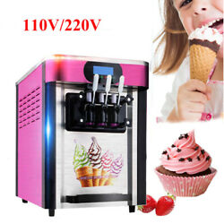 US Wind Cooling Commercial Frozen Soft Ice Cream Machine Table Top Freezer 2000W