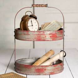 Metal 2-TIER RED Serving Caddy Basket Storage Primitive Rustic Country Farmhouse