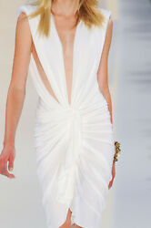 Alexandre Vauthier Cutout Plunging White Dress Fr. 36