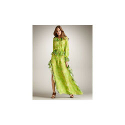 Roberto Cavalli Green yellow ruffle chiffon kaftan dress 42 6 8 10  $2215