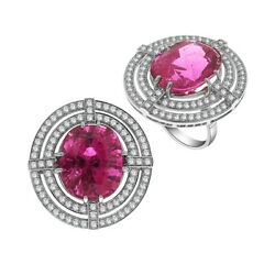 18.46ct Ruby Pave Diamond Designer Ring 18kt Solid White Gold Women Jewelry