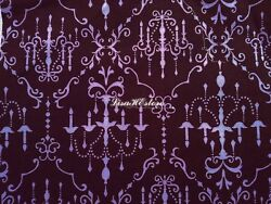Purple chandelier on brown 1 2 yard pure cotton fabric $6.75