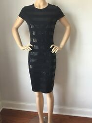 NWT St John Knit Black Evening dress size 12 santana knit with sequins