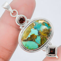 Pilot Mountain Turquoise and Garnet 925 Sterling Silver Pendant Jewelry SDP21602