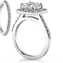 2.75 CT SI2 14 KT WHITE GOLD BAND SET DIAMOND RING HALO 4 PRONG SIZE 4 12 - 9