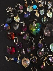 Gorgeous Vintage To Now Lot Of 58 Crystal Hearts For Charms Pendants