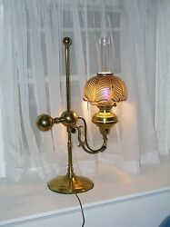 VICTORIAN ANTIQUE STUDENT GERMAN IMPERIAL LAMP BRASS PULL FEATHER GLASS SHADE $1625.00