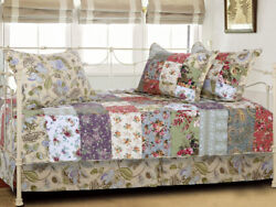NEW Daybed Quilt Set Jacobean Floral Patchwork Cottage She Shed Garden Bedding