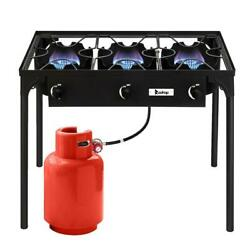 Propane 225000BTU Double 3 Burner Gas Cooker Stand Stove Outdoor Grill BBQ Black