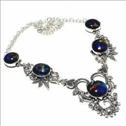 Fancy Dichroic Glass Ethnic Jewelry Handmade Necklace 60 Gms LN-41810