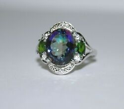Green Mystic Topaz Chrome Diopside in Sterling Silver Size 7 Ring