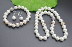 10mm White South Sea Shell Pearl Necklace 18'' Bracelet Earring Set Magnet Clasp