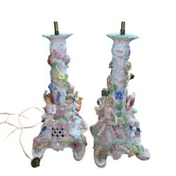 Antique Lamps Meissen German style Porcelain Gorgeous Pair 1800s Home Decor $1561.64