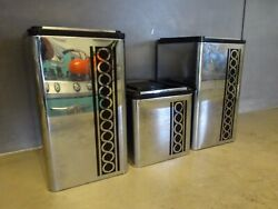 Vintage Kromex kitchen collectible silver tin 1950s canister set 3 pc