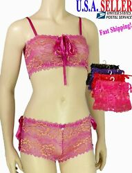 Womens Exotic Floral Lace Bra & Panty Set Sheer Mesh Sexy Lingerie Tube Top $4.89