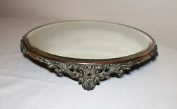 large antique circular ornate bronze jewelry vanity stand mirror dish tray