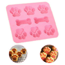 Silicone Bone Paws Pet Dog Paw Soap Mold Candy Chocolate Fondant Tray Ice Cube