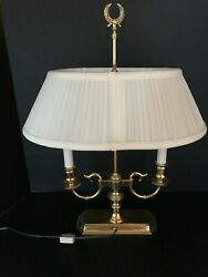 BALDWIN BRASS DOUBLE CANDLESTICK LAMP DESK WITH BALDWIN SHADE & FINIAL 21