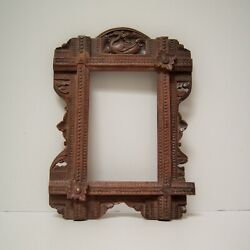 Victorian Antique Wood Art Nouveau Floral Swan Picture Frame Hand Carved $125.00