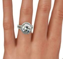 ACCENTED SI2 3.9 CT HALO DIAMOND RING 18 KT WHITE GOLD SPLIT SHANK NATURAL