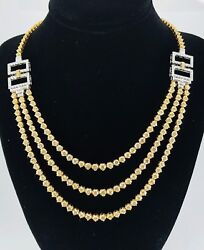 $128000 18K White Gold 48ct Fancy Light Yellow Round Baguette Diamond Necklace