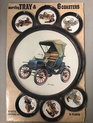 Vintage Serving Tray & 6 Coasters Cadillac Franklin Welch Cars