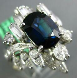 EXTRA LARGE 6.50CT DIAMOND & AAA SAPPHIRE 18KT WHITE GOLD OVAL ENGAGEMENT RING