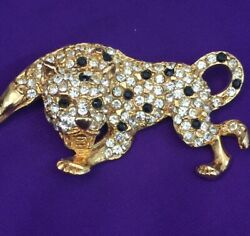LARGE GOLD TONE LEOPARD  CAT WHITE BLACK STONES DIAMANTE BROOCH