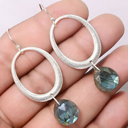 Matte Finish Faceted Labradorite 925 Sterling Silver Earrings Jewelry SDE20294
