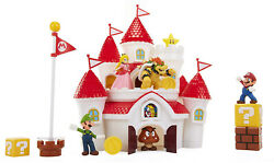 Nintendo Super Mario Deluxe Mushroom Kingdom Castle Playset With 5 Figures and