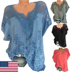 Womens V Neck Lace Tee T-shirts Short Sleeve Blouse Loose Tunic Tops US Stock