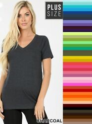 Womens V Neck T Shirt Short Sleeve Zenana Premium Cotton Top Plus Size 1X 3X $12.95