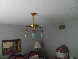 ANTIQUE HANGING LIGHT LAMP FIXTURE etched IRIDESCENT SHADES $595.00