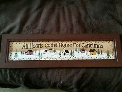 All Hearts Come Home For Christmas Rectangle Wooden Sign - Free Ship