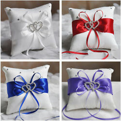 Wedding Ring Pillow Cushion Diamond Engagement Bearer Double Heart Cushion Party