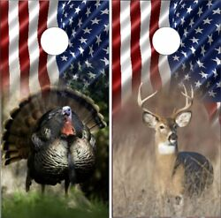 Vinyl Cornhole Skin Wraps Deer Turkey USA American Flag Pride