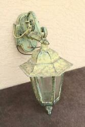 Large exterior Lamp Old Estate Light Lantern Large Patina Metal Carriage Big BH