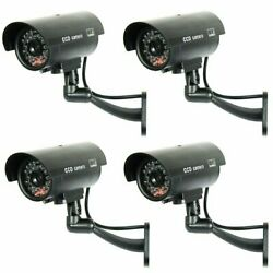 4 Pack IR Bullet Fake Dummy Surveillance Security Camera with Record Light Black $19.95