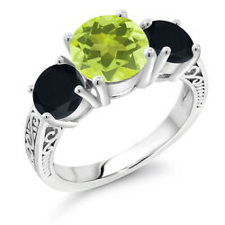 3.45 Ct Round Yellow Lemon Quartz Black Onyx 925 Sterling Silver Ring