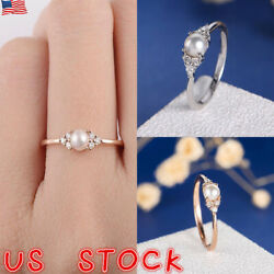Fashion 18K Rose Gold Plated Round Cut White Pearl Women Wedding Ring Size 6-10