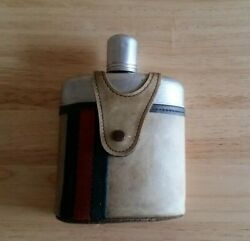 VINTAGE GUCCI Vinyl and Aluminum FLASK with Green and Red Strips