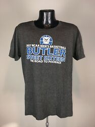 Men's 2017 Butler Bulldogs Basketball Road To Phoenix Charcoal SS Graphic Tee L