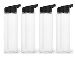 Set of 4 Sport Water Bottle 24 Oz With sipper straw $17.99