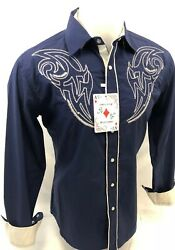Mens RODEO WESTERN COUNTRY BLUE Long Sleeve Woven SNAP UP Shirt Cowboy 06660 NEW