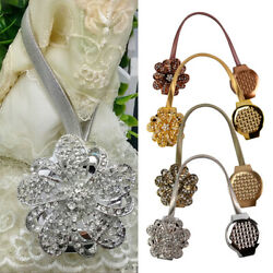 1-2Pcs Magnetic Curtain Tie Back Crystal Flower Retractable Clips Drapery Holder $6.99