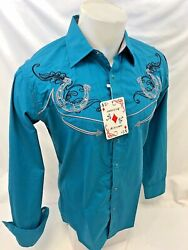 Mens RODEO WESTERN COUNTRY TEAL HORSESHOE Long Sleeve Woven SNAP UP Shirt Cowboy